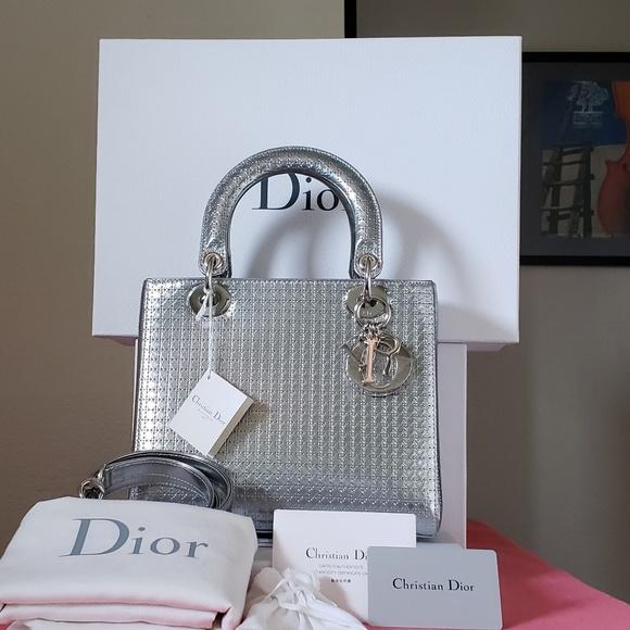 c59c594c70480 Dior Bags | Lady Silver Micro Cannage Motif Medium Bag | Poshmark